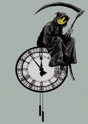 BANKSY - GRIM REAPER - times up canvas print - self adhesive poster - photo print